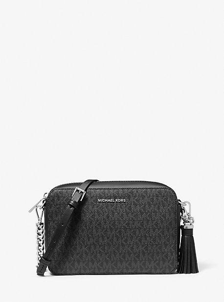 마이클 마이클 코어스 Michael Michael Kors Ginny Medium Logo Crossbody Bag,BLACK