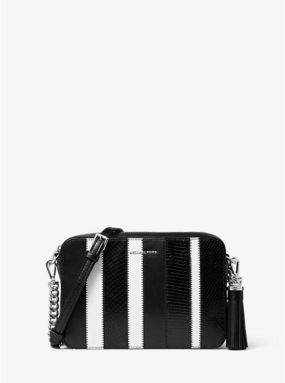 Ginny Medium Striped Leather Crossbody Bag by Michael Michael Kors