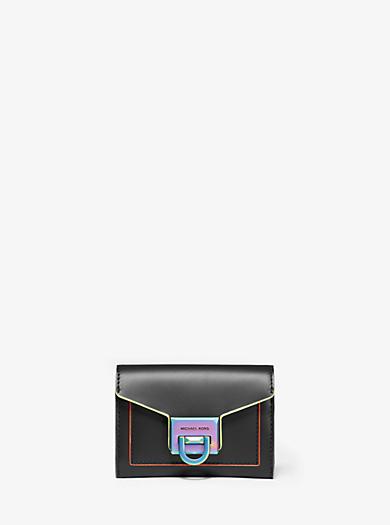 19463336a94d Manhattan Small Contrast-Trim Leather Wallet. michael michael kors ...