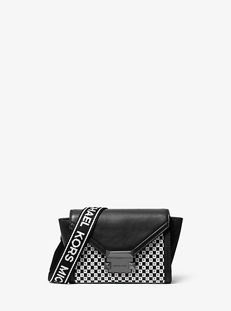 a27eca1f7 Whitney Mini Checkerboard Logo Leather Convertible Crossbody Bag. michael  michael kors ...