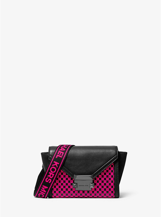 Whitney Mini Neon Checkerboard Logo Leather Convertible Crossbody Bag by Michael Michael Kors