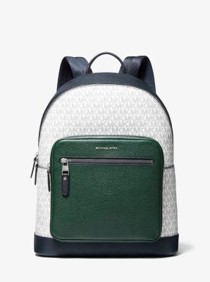 마이클 코어스 백팩 Michael Kors Hudson Color-Block Logo and Leather Backpack,WHT/RCNG GRN