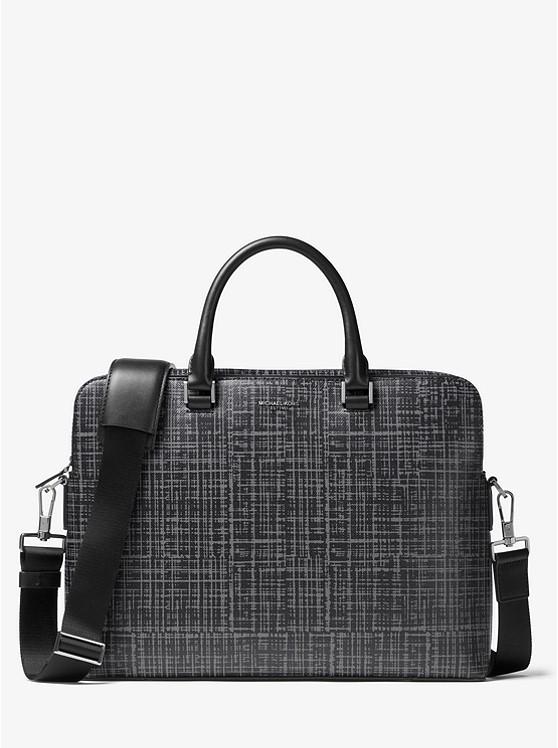 Harrison Crosshatch Leather Briefcase