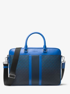 jet set large logo stripe briefcase | michael kors