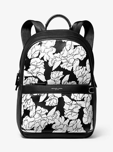 f9358c91ccec49 Greyson Floral-print Pebbled Leather Backpack | Michael Kors