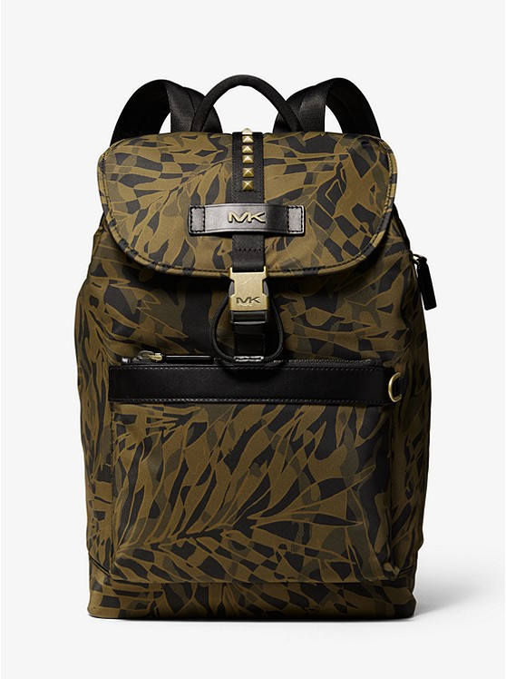 Kent Camouflage Palm Print Nylon Backpack by Michael Kors Mens