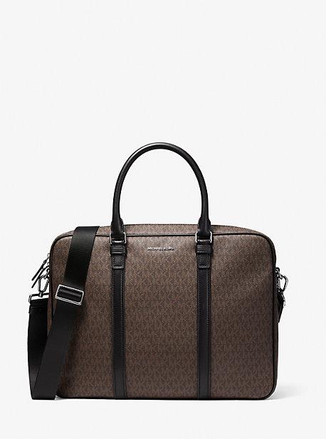 마이클 코어스 맨 서류가방 Michael Kors Hudson Logo and Leather Briefcase,BROWN/BLACK