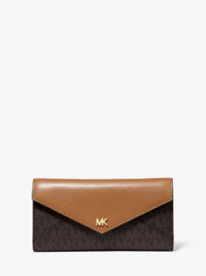 Large Logo and Leather Envelope Wallet | Michael Kors