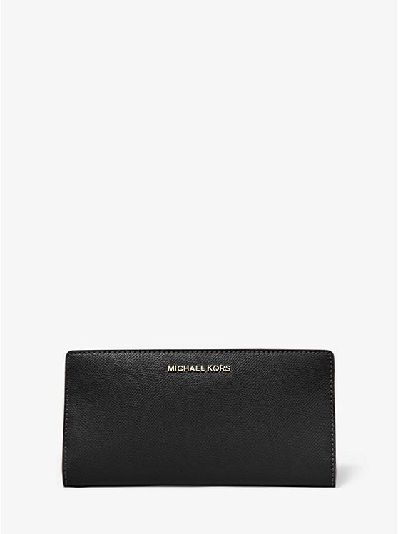 Große Schmale Brieftasche Aus Quer Genarbtem Leder | Michael