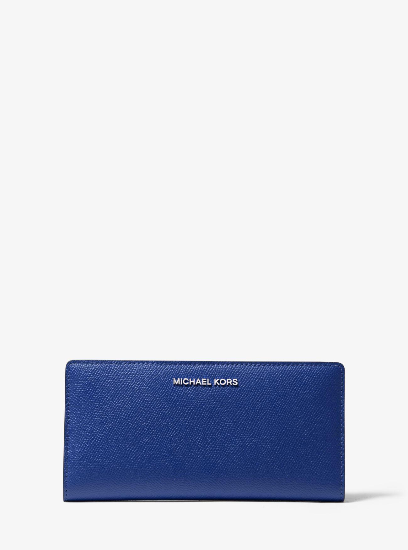 Große schmale Brieftasche aus dreifarbigem, quer genarbtem Leder