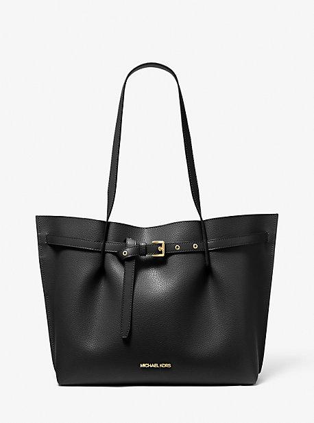 마이클 마이클 코어스 Michael Michael Kors Emilia Large Pebbled Leather Tote Bag,BLACK