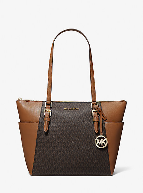 Charlotte Large Logo and Leather Top-Zip Tote Bag
