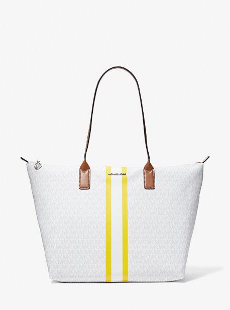 MICHAEL KORS Tasche   MK Großer Shopper Mit Logo Und Streifen - Bright Wht - Michael Kors