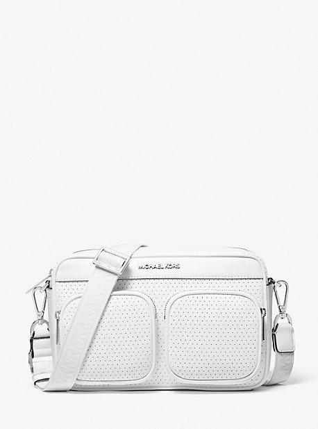마이클 마이클 코어스 Michael Michael Kors Hanover Perforated Crossbody Bag,OPTIC WHITE