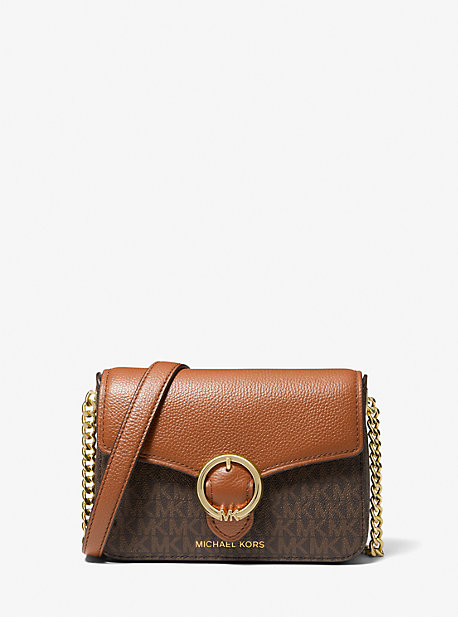 마이클 마이클 코어스 완다백 스몰 Michael Michael Kors Wanda Small Logo and Pebbled Leather Crossbody Bag,BROWN