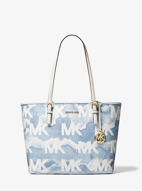마이클 마이클 코어스 Michael Michael Kors Jet Set Travel Medium Shibori Print Logo Tote Bag,PALE BLUE MULTI