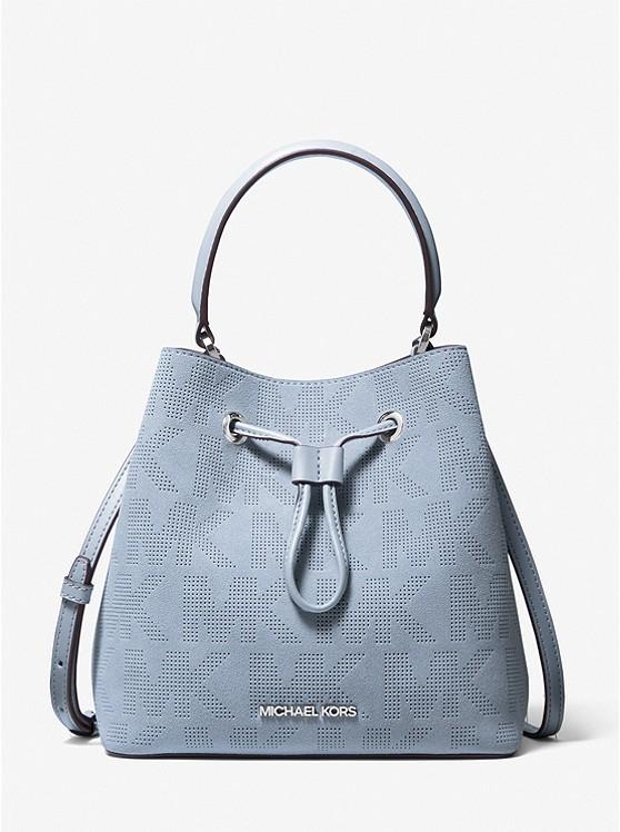 Michael Kors Suri Medium Logo Perforated Suede Crossbody Bag