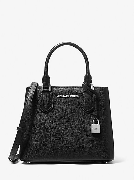 마이클 마이클 코어스 Michael Michael Kors Adele Medium Pebbled Leather Crossbody Bag,BLACK/CEMENT