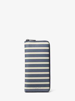 grant striped zip-around wallet | michael kors