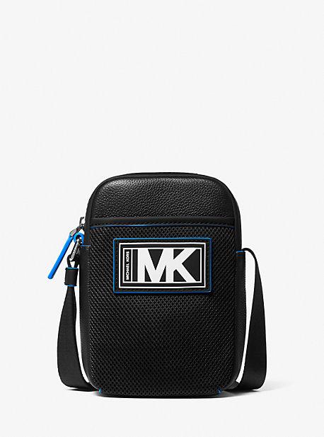 Michael Kors Cooper Pebbled Leather and Mesh Smartphone Crossbody Bag,BLK/NEON BLU