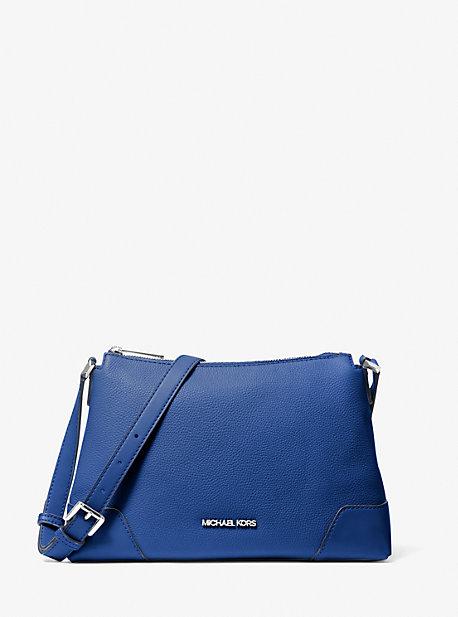마이클 마이클 코어스 크로스비백 미디움 Michael Michael Kors Crosby Medium Pebbled Leather Messenger Bag,ELECTRIC BLUE