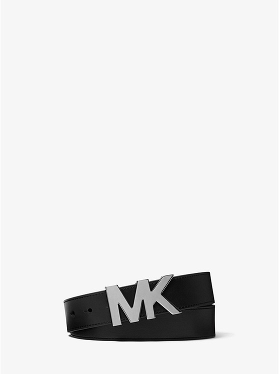 Leather Logo Buckle Belt by Michael Kors Mens