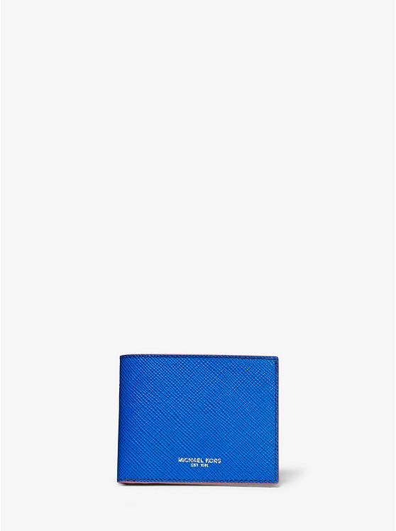 12268fcebb Portafoglio a libro Harrison sottile in pelle a grana incrociata color block