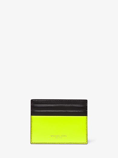 498485c74e16ac Porta carte di credito Henry in pelle color neon