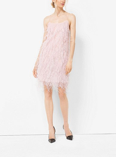 19085ffda Ostrich Feather-embroidered Chantilly Lace Slip Dress | Michael Kors