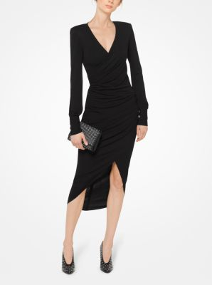 Ruched Matte Jersey Wrap Dress Michael Kors