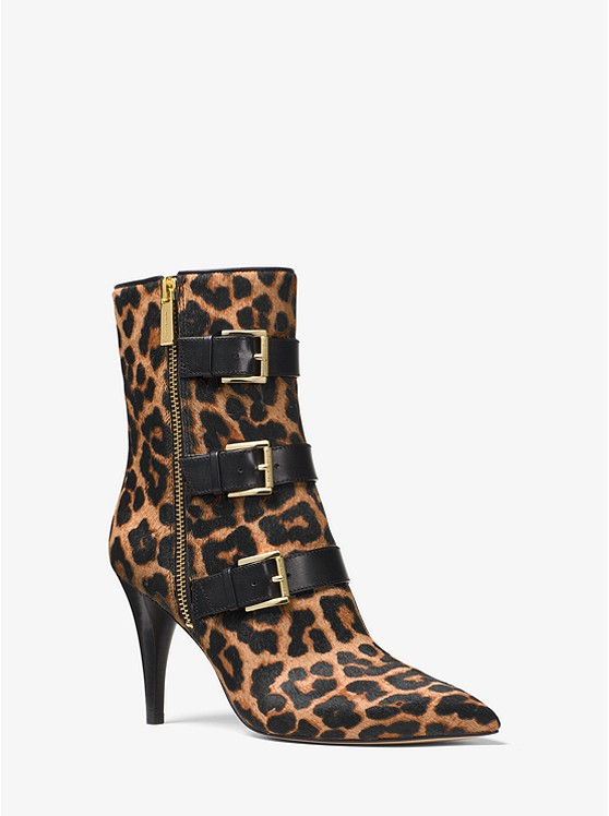 Lori Leopard Calf Hair Ankle Boot