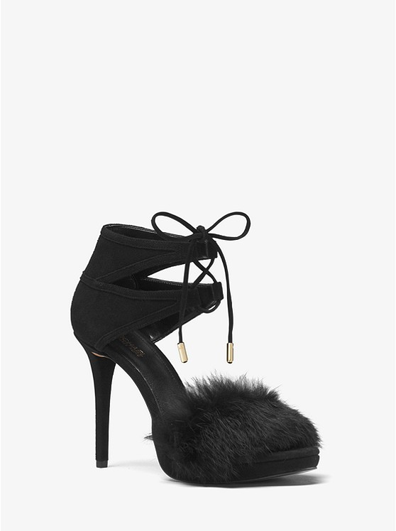 Remi Fur and Suede Sandal ...