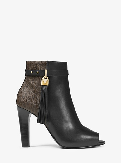 largest selection of 2019 fine quality fast color Winslow Leather and Logo Open-Toe Ankle Boot | Michael Kors