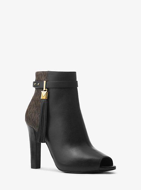 721789866bab0 Winslow Leather and Logo Open-Toe Ankle Boot · michael michael kors ...