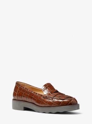 마이클 마이클 코어스 Michael Michael Kors Alberta Crocodile-Embossed Leather Kiltie Loafer,CHESTNUT
