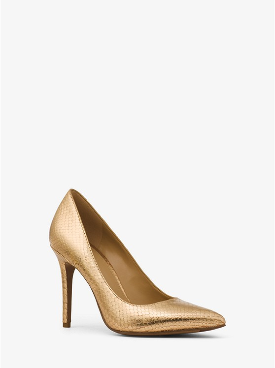 Claire Metallic Embossed-Leather Pump