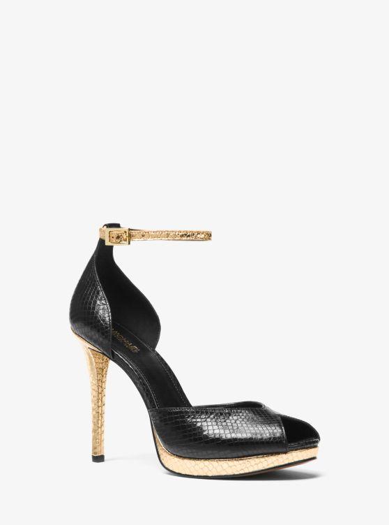 Tiegan Metallic Embossed Leather Sandal