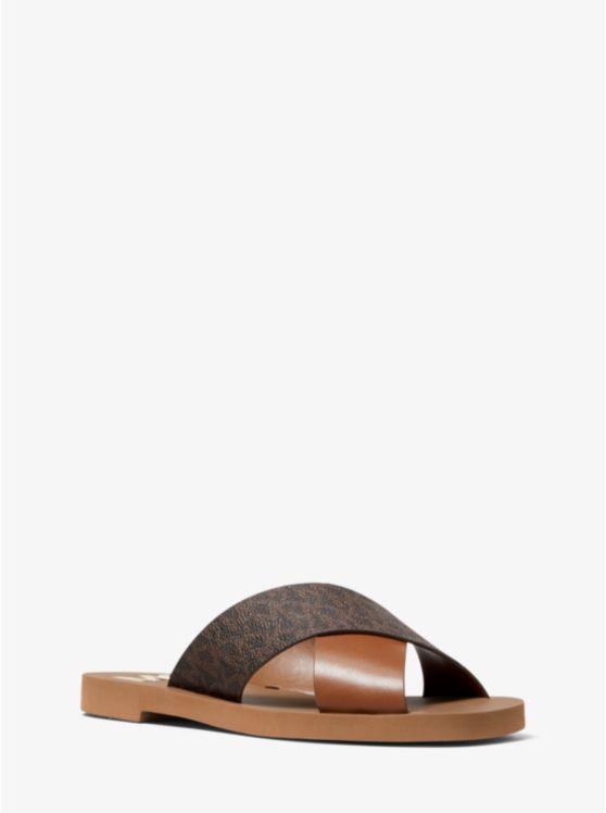 Glenda Leather And Logo Slide Sandal