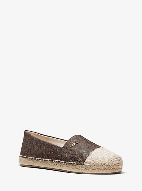 마이클 마이클 코어스 에스파드류 Michael Michael Kors Kendrick Two-Tone Logo Slip-On Espadrille,BROWN