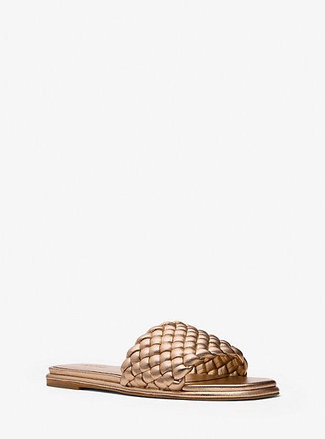 마이클 마이클 코어스 아멜리아 매듭 슬리퍼 Michael Michael Kors Amelia Metallic Braided Slide Sandal,ANTIQUE GOLD