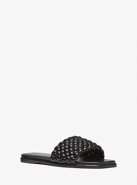 마이클 마이클 코어스 아멜리아 매듭 슬리퍼 Michael Michael Kors Amelia Braided Slide Sandal,BLACK