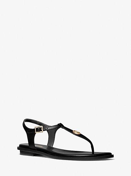 마이클 마이클 코어스 말로리 T스트랩 샌들 Michael Michael Kors Mallory Leather T-Strap Sandal,BLACK