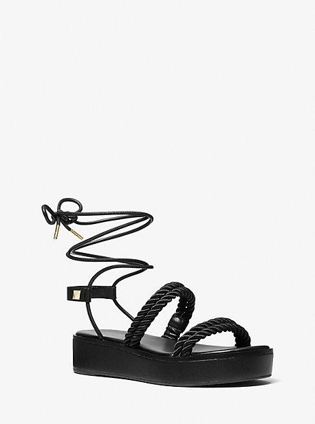 마이클 마이클 코어스 마리나 우븐 나일론 샌들 Michael Michael Kors Marina Woven Nylon Lace-Up Sandal,BLACK