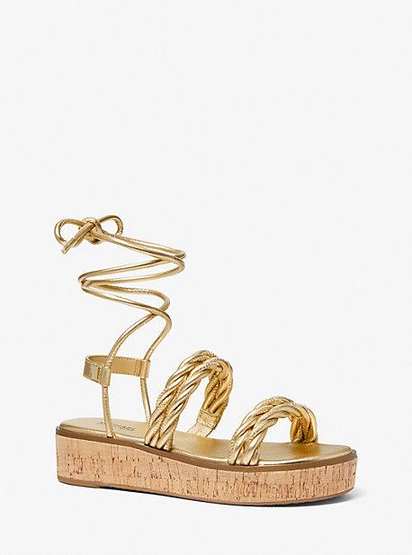 마이클 마이클 코어스 마리나 메탈릭 우븐 샌들 Michael Michael Kors Marina Metallic Woven Lace-Up Sandal,GOLD