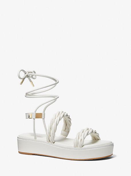 마이클 마이클 코어스 마리나 우븐 샌들 Michael Michael Kors Marina Woven Lace-Up Sandal,OPTIC WHITE