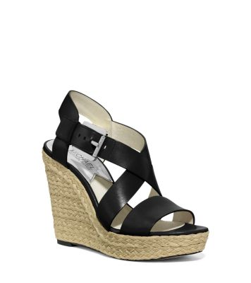 973665ce0f9 Giovanna Leather Espadrille Wedge Sandal | Michael Kors