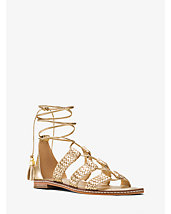 Monterey Gladiator Metallic Leather Lace-Up Sandal