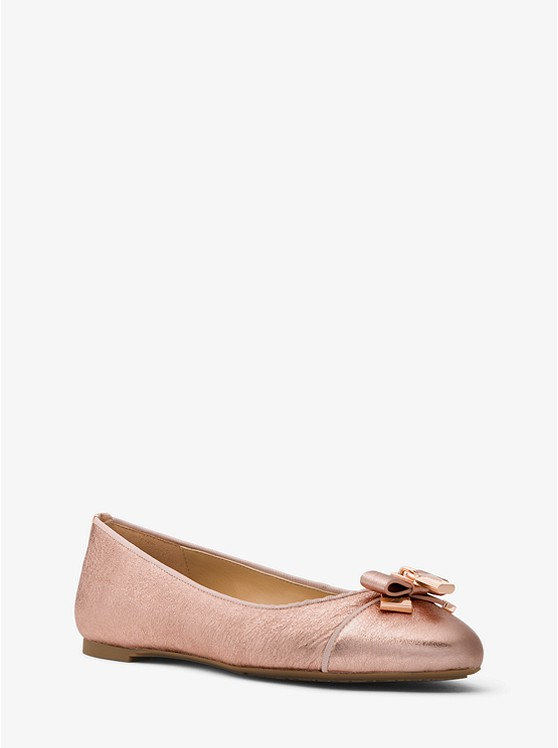 Alice Crackled Metallic Leather Ballet Flat