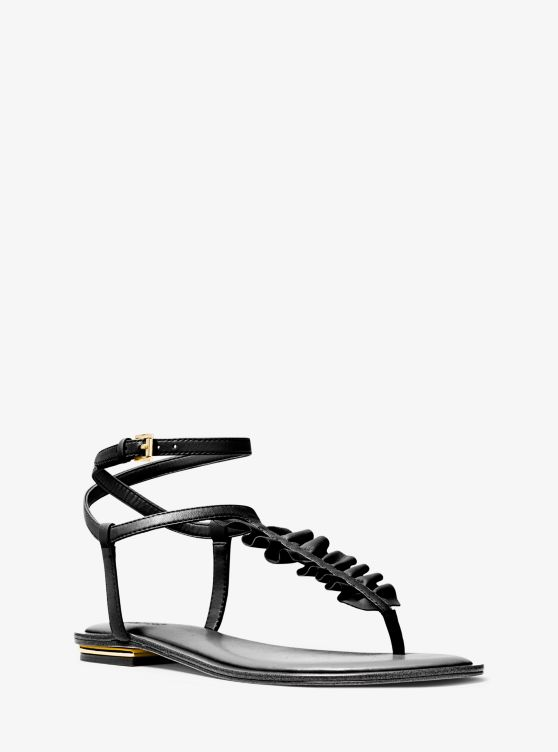 Bella Ruffled Leather Sandal