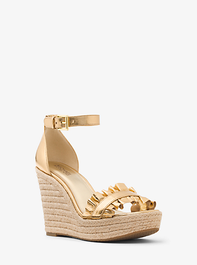 04f203027144 Bella Metallic Ruffled Leather Wedge